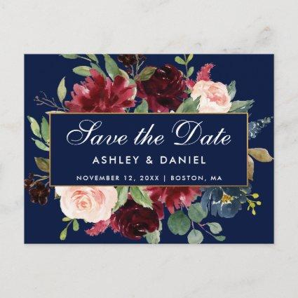 Save the Date Burgundy Floral Blue Gold Frame Announcement