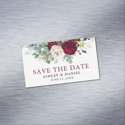 Save the Date Burgundy Floral Greenery Magnet