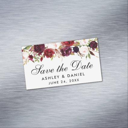 Save The Date Burgundy Floral Mini Magnet
