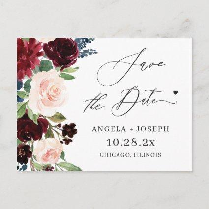 Save the Date Burgundy Maroon Blush Navy Floral