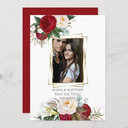 Save the Date     Burgundy Peony Floral Bouquets Invitation