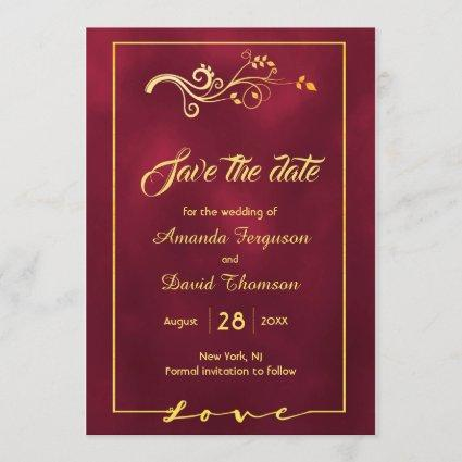 Save the date burgundy with faux gold decor