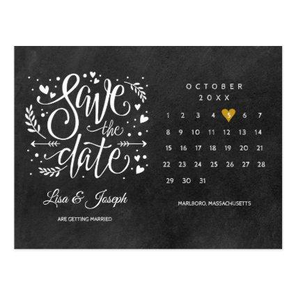 Save the Date Calendar Gold Heart Chalkboard
