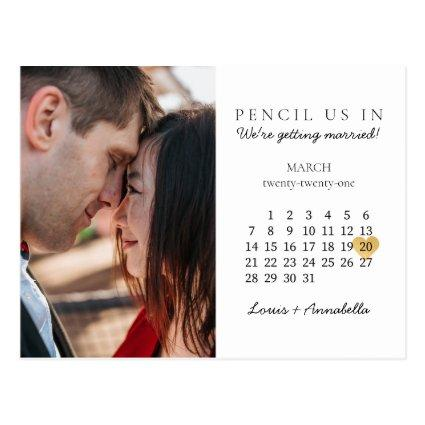 Save the Date Calendar Gold Heart March 2021