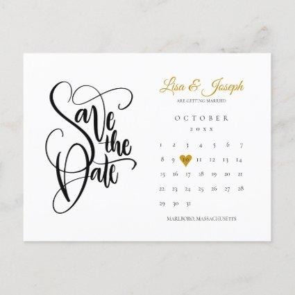 Save the Date Calendar Gold Love Heart