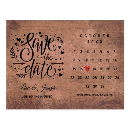 Save the Date Calendar Red Heart Rustic Wood