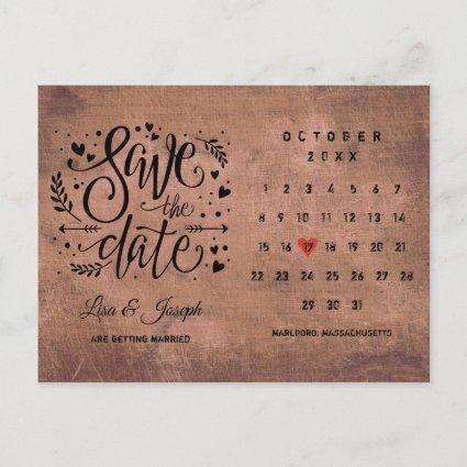 Save the Date Calendar Red Love Heart Rustic Wood