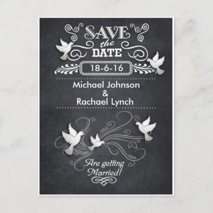 Save the Date Cards Rustic Chalkboard Doves