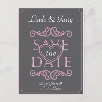 Save the date card with heart designed letters