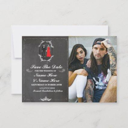 Save The Date Chalk Skulls Photo Card Gothic