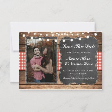 Save The Date Chalk Wood Rustic Red Check Photo