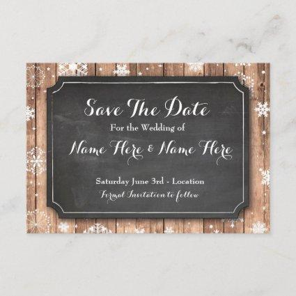 Save The Date Chalk Wood Winter Holidays Snowflake