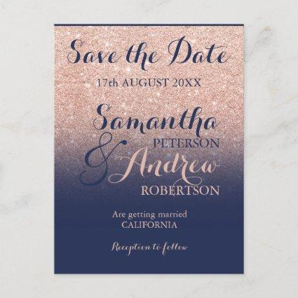 Save the Date Chic rose gold glitter navy blue Announcements Cards