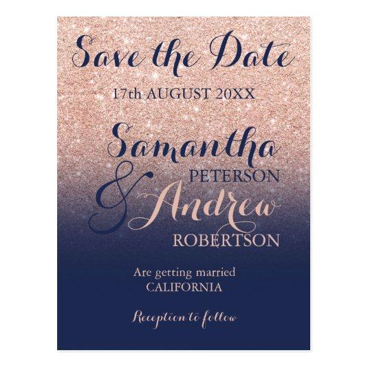 Save the Date Chic rose gold glitter navy blue