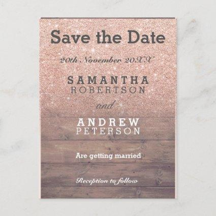 Save the Date chic rose gold glitter rustic wood Announcement