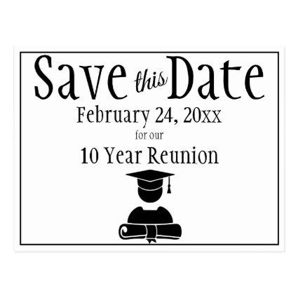 Save The Date Class Reunion Minimalist Black White