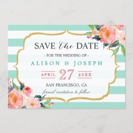 Save The Date | Classy Mint Green Stripes Floral