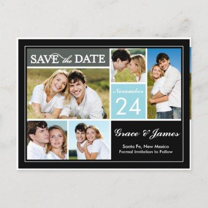 Save The Date   Color Block Blue Cards