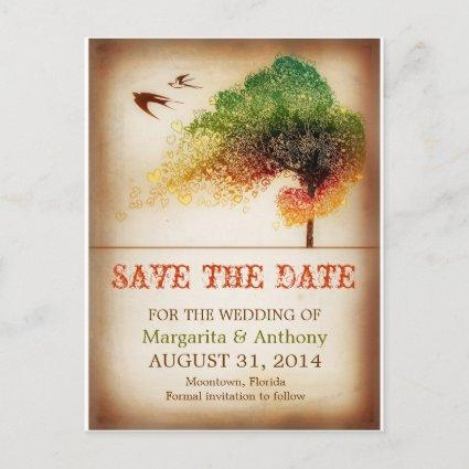 save the date colorful love tree vintage Cards