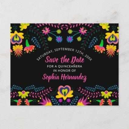 Save the Date Colorful Mexican Fiesta Floral Announcement