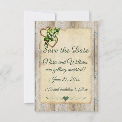 Save The Date, Country, Greyed Wood, Lily & Hearts