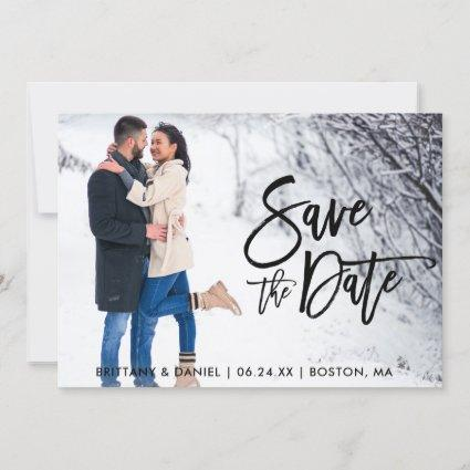 Save The Date Couple Photo Brush Script Cards
