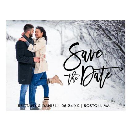 Save The Date Couple Photo Modern Brush Script