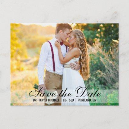Save The Date Couple Photo Names Date Modern Announcements Cards