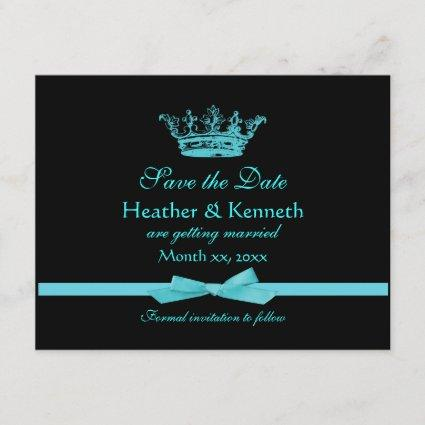 Save the Date Crown Blue