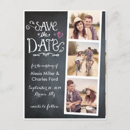 Save the Date | Curved Type Chalkboard Cards