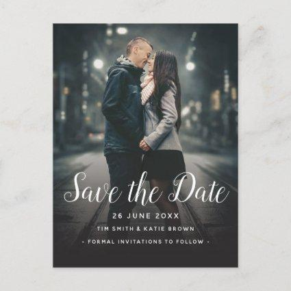 Save the Date Custom Photo Simple Vertical Layout Announcement