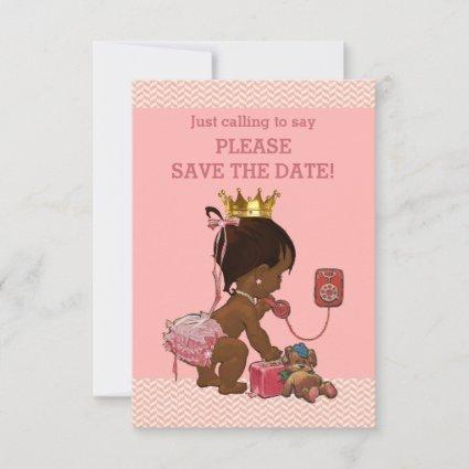 Save The Date Cute Ethnic Princess on Phone