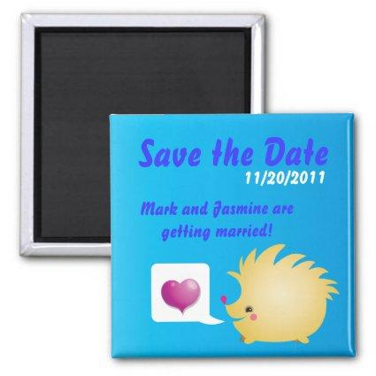 Save the Date Cute Love Heart and hedgehog Magnet