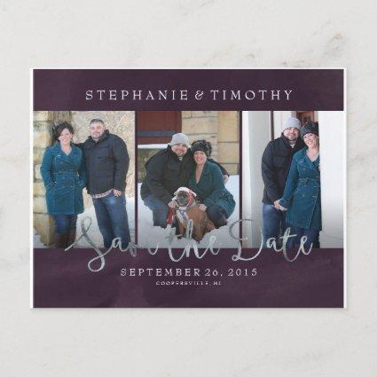 Save the Date - Deep Purple with Faux Silver Foil Announcement