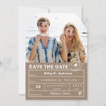 Save The Date Destination Luggage Tag 2 Photo Card