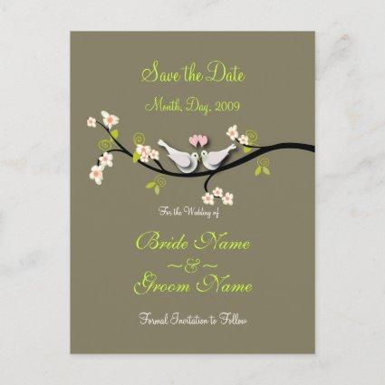 Save the Date doves+pink blossoms/diy color Announcement
