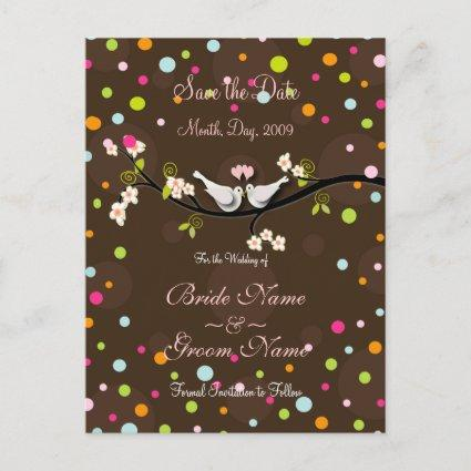 Save the Date doves + splash of confetti Announcements Cards