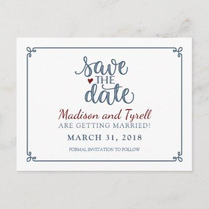"""Save the Date"" - Dusty Blue & Dark Red Announcement"