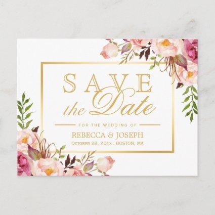 Save the Date Elegant Chic Pink Floral Gold Frame Announcements Cards