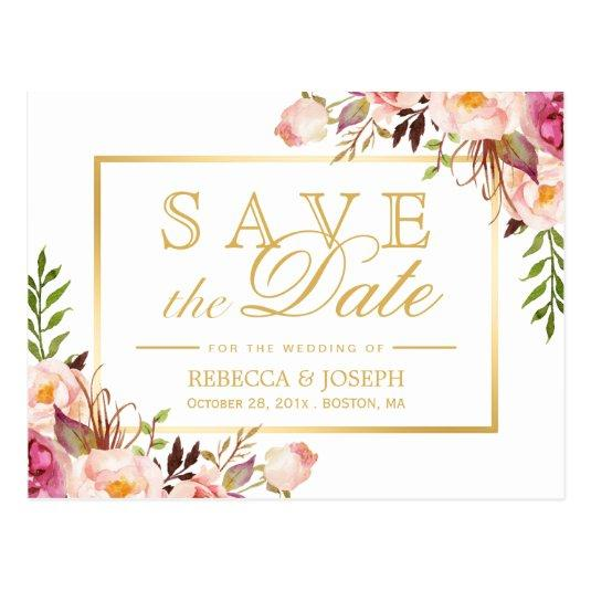 100 save the date elegant chic pink floral gold frame cards