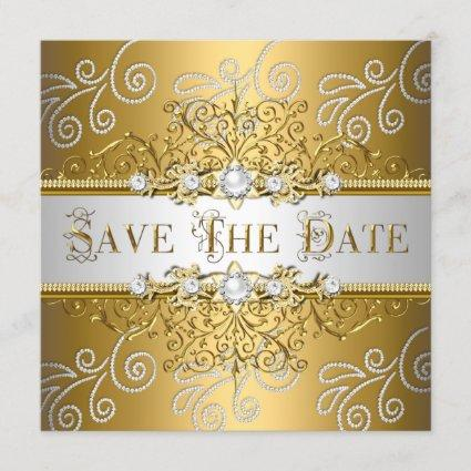 Save The Date Elegant Gold Silver Lace Diamond