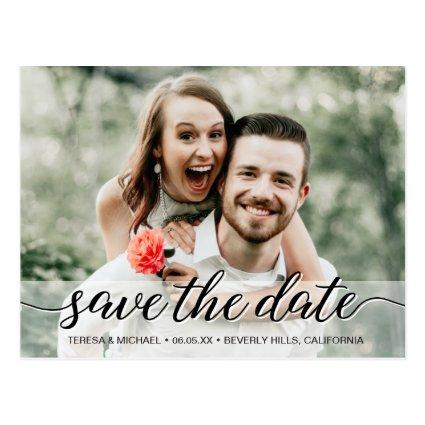 Save the Date elegant script engagement photo