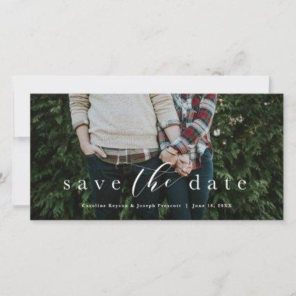 Save the date elegant script horizontal photo card