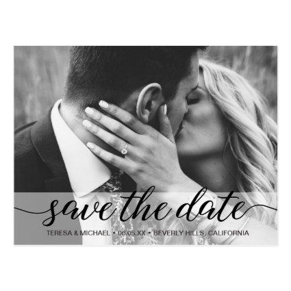 Save the Date elegant script, Photo, Engagement Cards