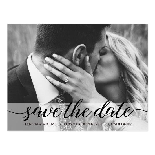 Save the Date elegant script, Photo, Engagement