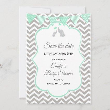 Save The Date Elephant Mint Green Silver