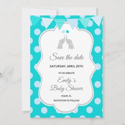 Save The Date Elephant Teal Blue Polka Dots