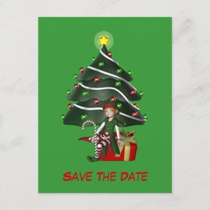 Save The Date Elf Christmas Tree Holiday