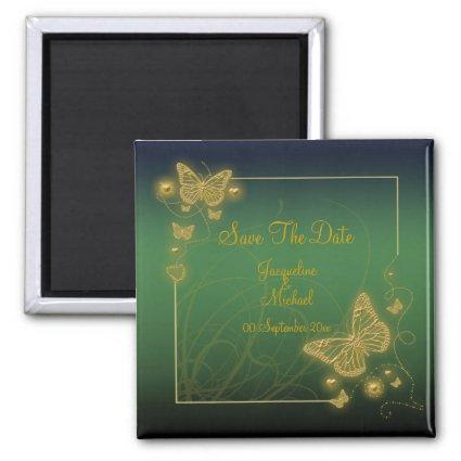 """""""Save the date"""" emerald green butterfly gold black Magnet"""