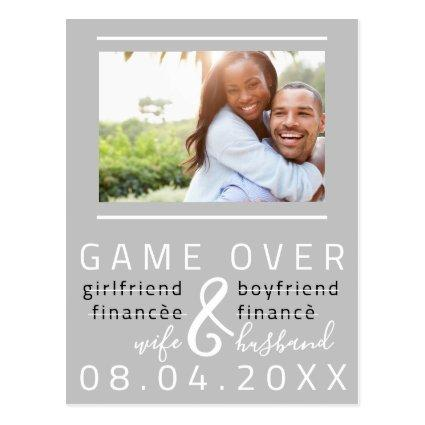 Save The Date Engagement Photo Funny Gray White